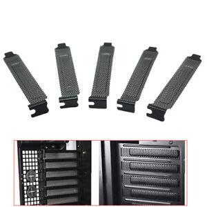 5PCS PCI Bracket Slot Cover Dust Filter Black Steel Blank Blanking Plate+ Screws
