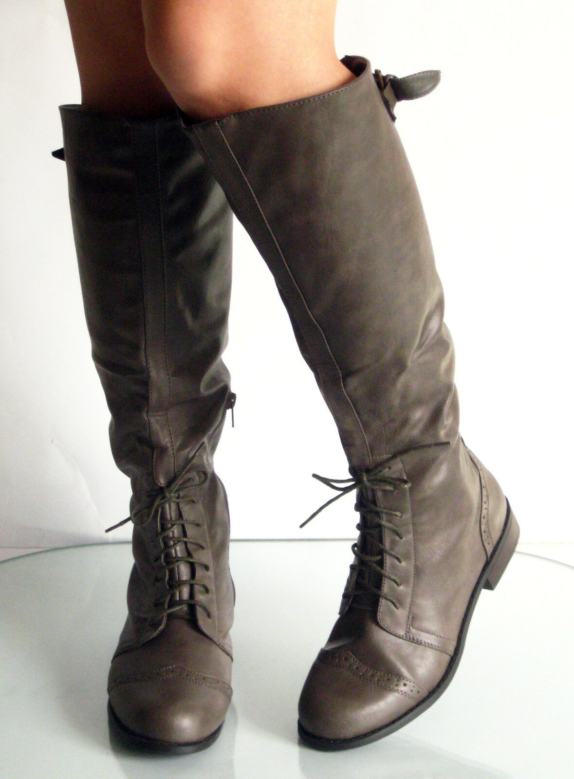 New Classic Round Toe Lace Up Low Flat Heel Knee High Boots Oxford Brogued Taupe