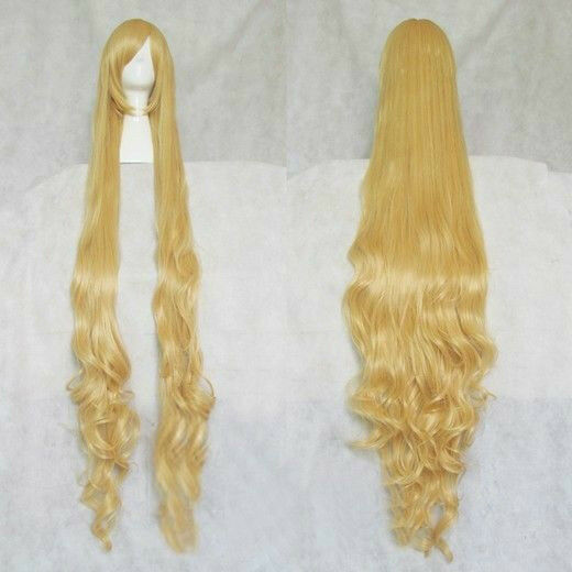 Victoria Fashion Beautiful Blonde Stylish Curly Hair Long Cosplay Wavy Wig 150cm