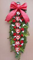 30 Red Valentine Welcome Pine Door Swag Wreath Handmade