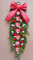 30 Red Valentine Welcome Pine Door Swag Wreath Handmade