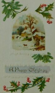 A-Happy-Christmas-Winter-Scene-Holly-Snow-Unposted-Divided-Back-Vintage-Postcard