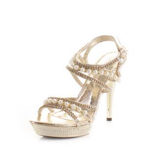 Womens Ladies Gold Pearl Platform Strappy Diamante Party Wedding ...