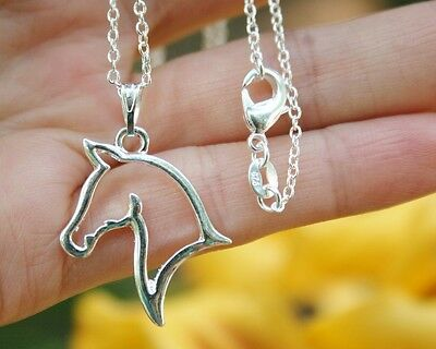 .925 Sterling Silver NECKLACE Horse Head Silhouette Pendant Pony Lover Cute Gift