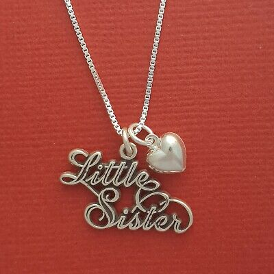 Sterling Silver Little Sister Necklace Heart Solid 925 Charm Pendant Chain sis