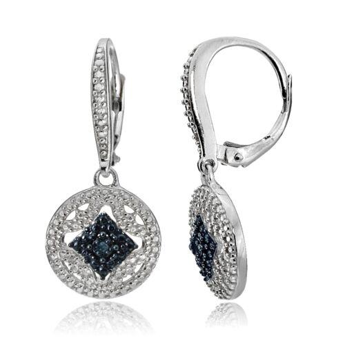 Sterlingsilber Blau Diamant Akzent Filigraner Medaillon Lang Brisuren Ohrringe