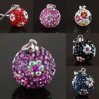 925 STERLING SIlVER CZECH AB CRYSTAL 14MM FLOWER DISCO BALL PENDANT FIT NECKLACE