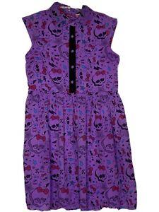 Monster-High-Girls-Purple-Print-Dress-W-Star-Buttons-Skulls-Size-XL-14-16
