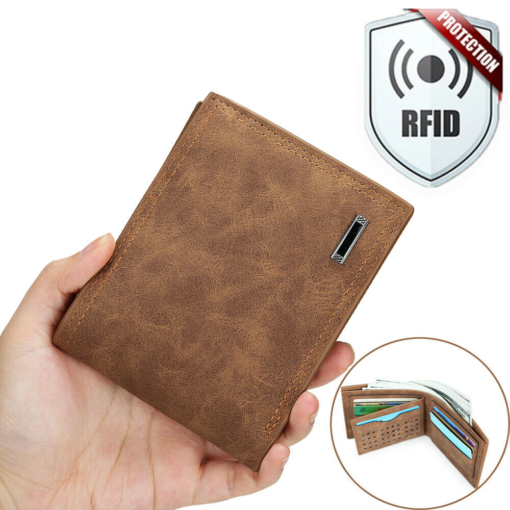 Wallet Mens PU Faux Leather Bifold RFID Safe Credit Card Holder Gift Wallets New