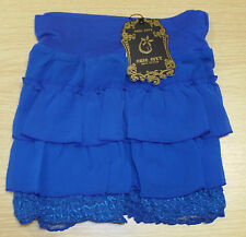 """LADIES CHIC CITY ROYAL BLUE FRILLED LACY MINI SKIRT SIZE 22"""" up to a 30"""" WAIST"""