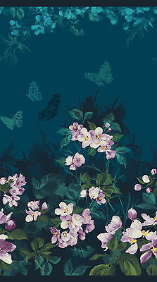 2.6 Yards Cotton Fabric - Northcott Mystic Garden Floral Butterfly Panel Teal