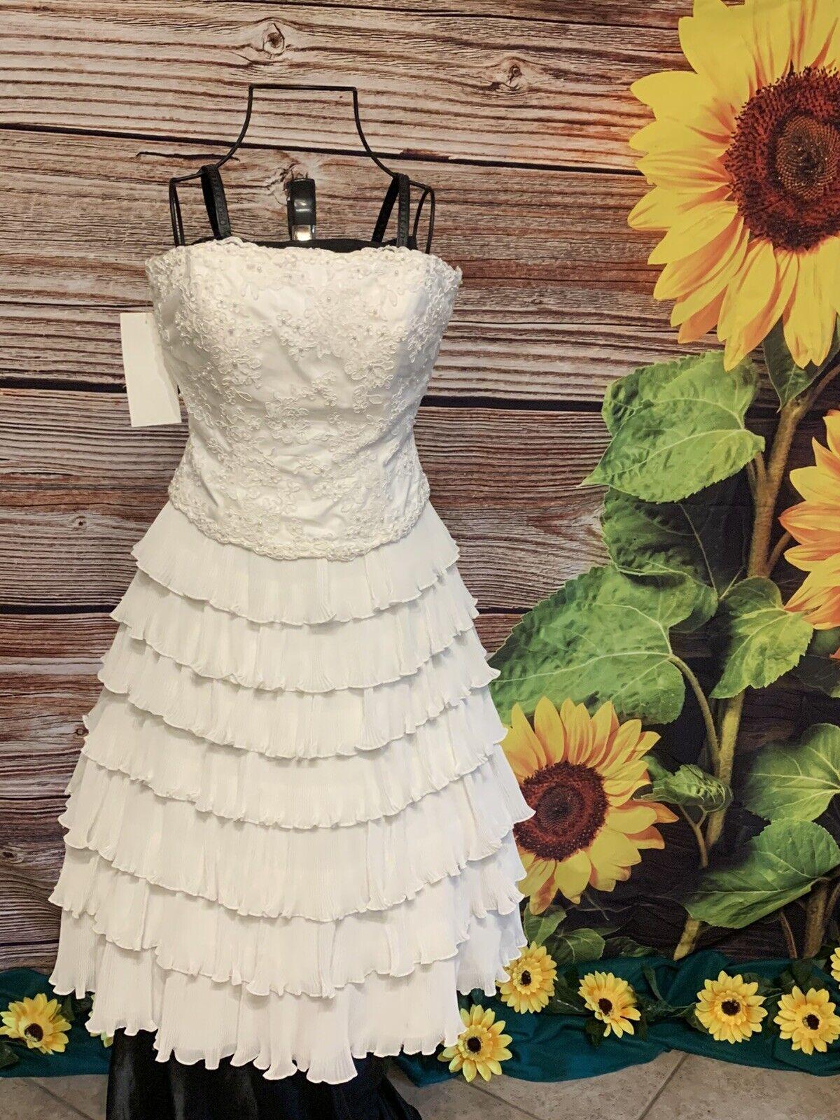 Destination by Mon Cheri strapless ruffle beaded pearl wedding /prom dress sz 6