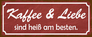 Coffee And Love Tin Sign Shield Arched Metal 10 X 27 CM K0224