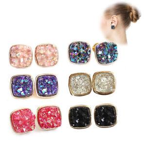 Image Is Loading 1 Pair Natural Quartz Crystal Druzy Stud Earrings