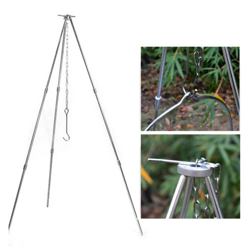 Camping Cooking Tripod Outdoor Campfire Cookware Picnic Pot Holder Grill Ware