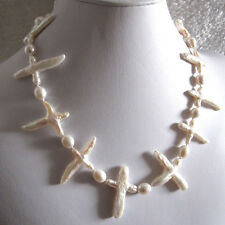 """18"""" 6-8mm White Rice Cross Freshwater Pearl necklace AC"""