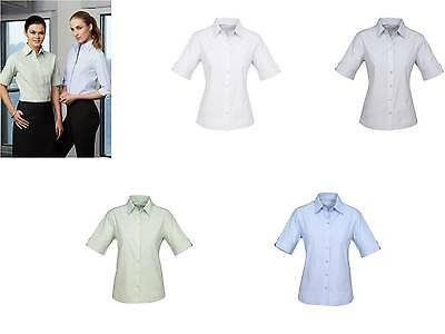Ambassador Ladies Business Shirt Short Sleeve Blouse Women Office Uniform S29522