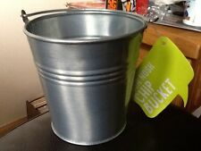 2 x Galvanised Steel Serving Buckets, Chip Fries Bucket .  NEW UNUSED .