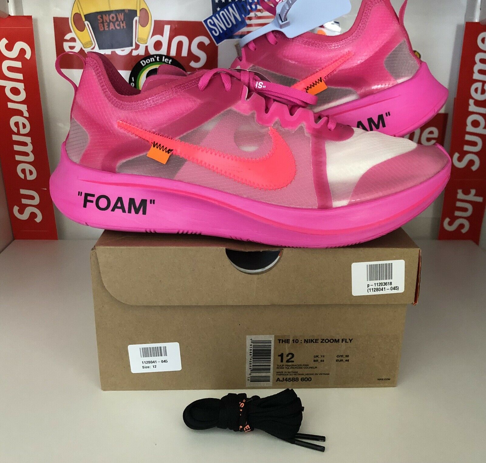 Nike X Off White Zoom Fly Tulip-Pink Size US 12