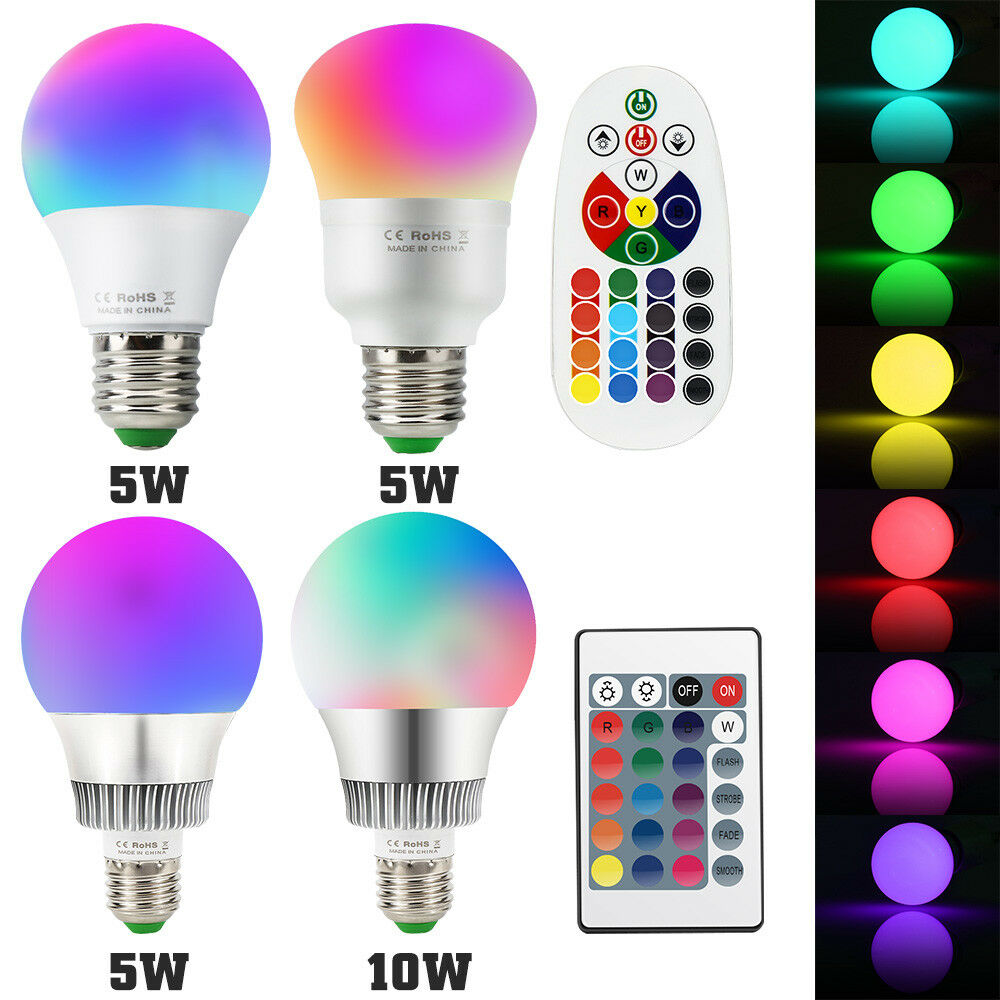 De 5w 10w RGB LED bombilla Colors cambiantes bombilla luz con control remoto infrarrojos e14 e27