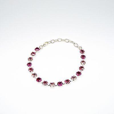 Damen Armband Tennis 925 Silber Versilbert Swarovski Kristalle Rosa Fuchsia Rot