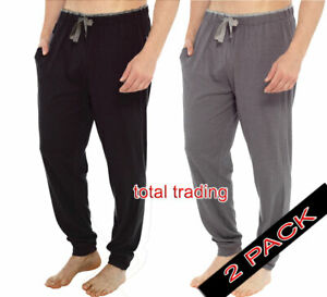 2-pack-pyjama-bottoms-trousers-mens-M-L-XL-XXL-plain-pjs-lounge-wear-pants-CUF