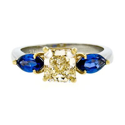 Platinum 18k Gold 2.61ct GIA Fancy Yellow Radiant Diamond Marquise Sapphire Ring