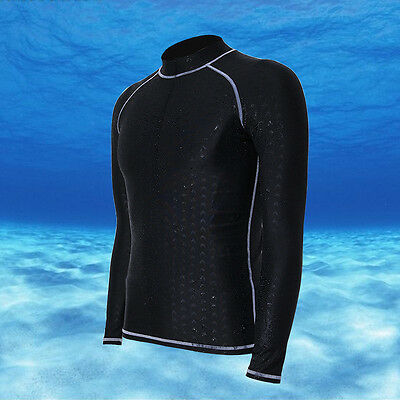 Mens Swim Rash Guard Wetsuits Long Sleeve MMA Compression Gym Active Wear B616
