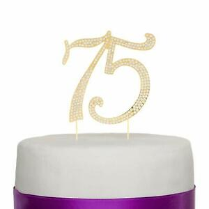 Prime 75 Gold Cake Topper For 75Th Birthday Or Anniversary Gold Ebay Funny Birthday Cards Online Bapapcheapnameinfo