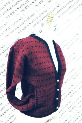 VTG Herman Geist Sweater Cardigan Red/Blue Wool M… - image 1