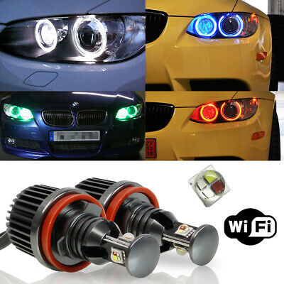 2pcs 60W Angel Eyes RGB Color Change H8 LED WIFI Control For BMW E92 E88 1500LM