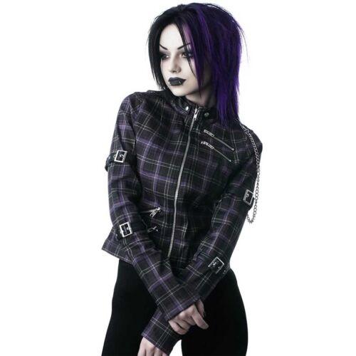 Killstar Gothic Goth Okkult Punk Denim Biker Jacke Roz Tartan Kette Riemen