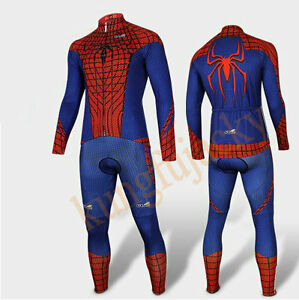 Hot-Spider-Man-Costume-Peter-Parker-Cycling-Kits-Bicycle-Long-Jersey-Pants-S-3XL