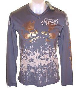 BNWT-pour-hommes-SMET-manches-longues-imprime-metallique-T-shirt-de-V-cou