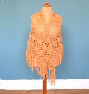 Discipliné Femmes Dames Vintage Orange Tassled Châle Rétro Boho Taille Unique-afficher Le Titre D'origine Large SéLection;