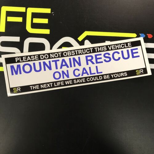 Sticker 245mm MOUNTAIN RESCUE On Call Sign Fire For Car Van Emergency Response