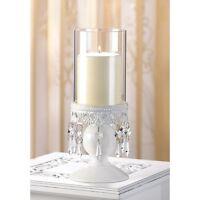 1 X Victorian Hurricane Lantern Candle Holder Centerpiece Crystals Decor