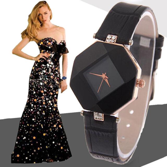 Ladies Fashion Rose Gold Diamond Shaped Black Faced Black Band Wrist Watch.