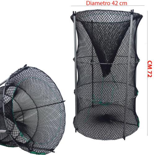 1005 Nassa Professionale Artigianale Richiudibile pesca 72x42cm nylon seta PP