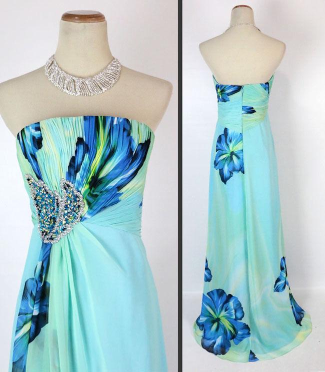 NEW  Jovani Print Blau Prom Eve Long Gown Prom Formal Größe 2 Dress Strapless