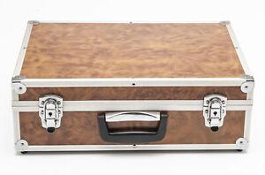 Kamerakoffer Aluminiumkoffer camera suitcase in Braun brown holzoptik universal