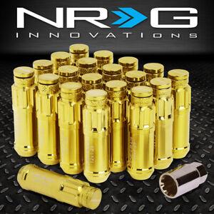 Chave Nrg Prata 20Pcs De Aço M12 X 1.25 perto Fim Spline Drive Lug Nuts com poeira Cap