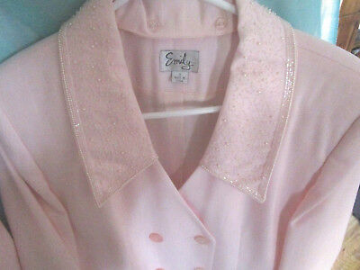 Emily Pink Size 12 Skirt Suit 4 Button Blazer Jacket w/ Removable Beaded Collar