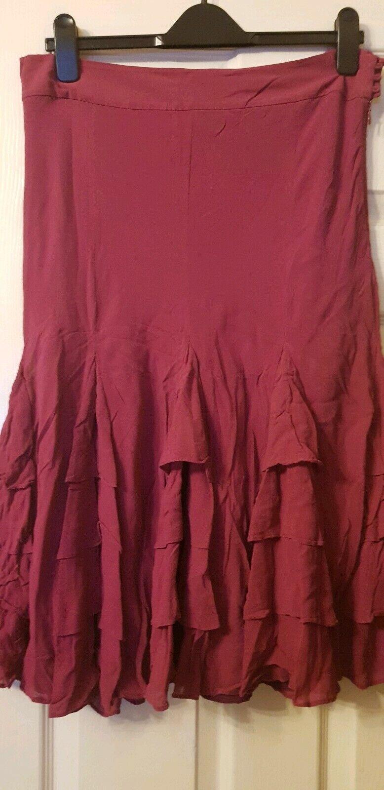 Coast deep pink silk flared Skirt size 14