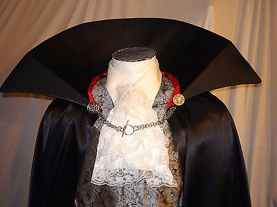 DRACULA Red Black Satin Cape Chain Closure Vampire Mens READY TO SHIP Cloak L/XL