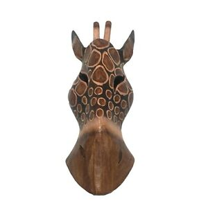 Giraffe-Hand-Carved-Brown-Wooden-Mask-African-Safari-Jungle-Wall-Hanging