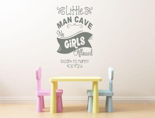 Little man cave cute fun childrens bedroom wall art vinyl decal sticker