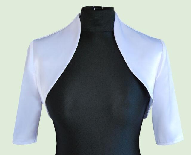 New Women Silver Wedding/Prom Satin Bolero Shrug Jacket  S M L XL XXL