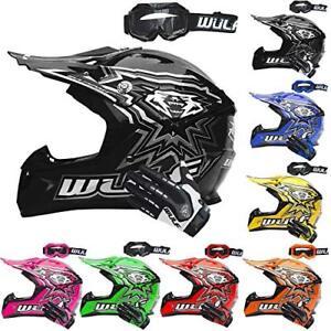 Details About Wulf Cub Flite Xtra Motocross Helmet Kids Junior Crash Mx Atv Quad Wulfsport