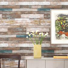Vintage Wood Wallpaper Rolls Blue/Beige/Brown Wooden Plank Murals Home Kitchen